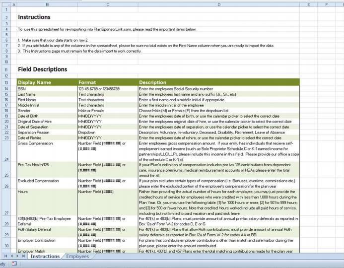 employee census spreadsheet